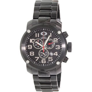 Swiss Precimax Marauder Pro Men's Black Stainless-Steel-Band Deployment-Clasp Swiss Chronograph Watch