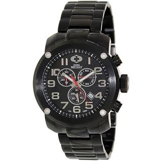 Swiss Precimax Marauder Pro Men's Black Stainless-Steel-Band Deployment-Clasp Swiss Chronograph Watch