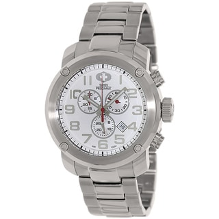 Swiss Precimax Men's Marauder Pro Silver Stainless-Steel Band Swiss Chronograph Watch with White Dial