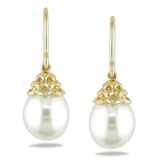 Miadora 14k Yellow Gold White Pearl Drop Earrings (9-10 mm)