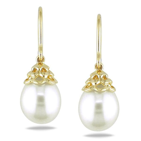 Miadora 14k Yellow Gold White Cultured Freshwater Pearl Drop Earrings ...