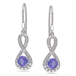 Miadora Sterling Silver Tanzanite 1/10ct TDW Diamond Infinity Earrings