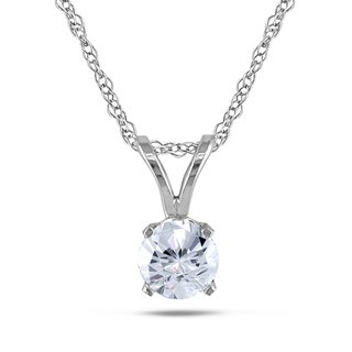 Miadora 14k White Gold Cubic Zirconia Solitaire Pendant Necklace