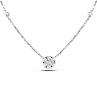 Miadora 14k White Gold 1/3ct TDW Diamond Station Necklace (G-H, I1-I2)
