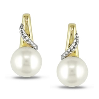 Miadora 10k Two-Tone Gold Freshwater Pearl Earrings (7-7.5 mm)