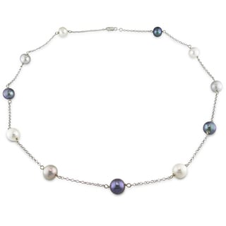 Miadora 14k White Gold Freshwater Tin-Cup Pearl Necklace (11-12 mm)