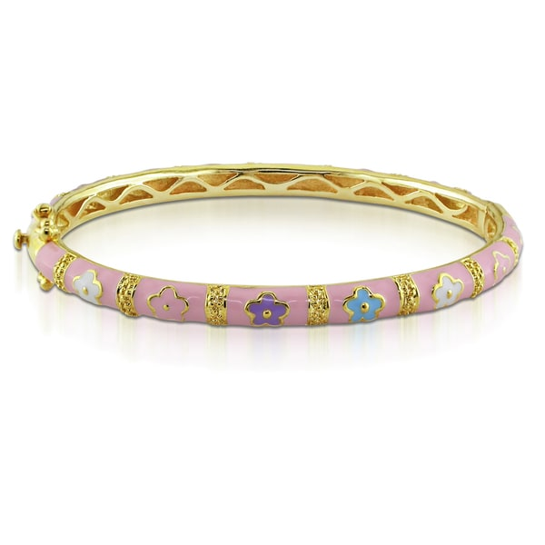 Miadora Gold Plated Silver Multi-color Flower Enamel Bangle