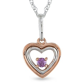 Miadora 10k Two-tone Gold Pink Diamond Heart Necklace