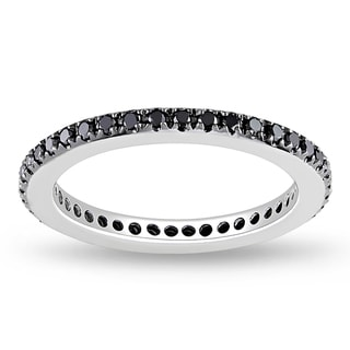 Miadora 14k White Gold 3/8ct TDW Black Diamond Eternity Ring