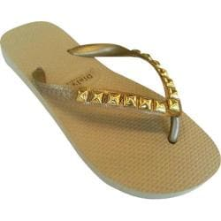 Women's Dini's Los Angeles Pyramid Studs Metallic Sand
