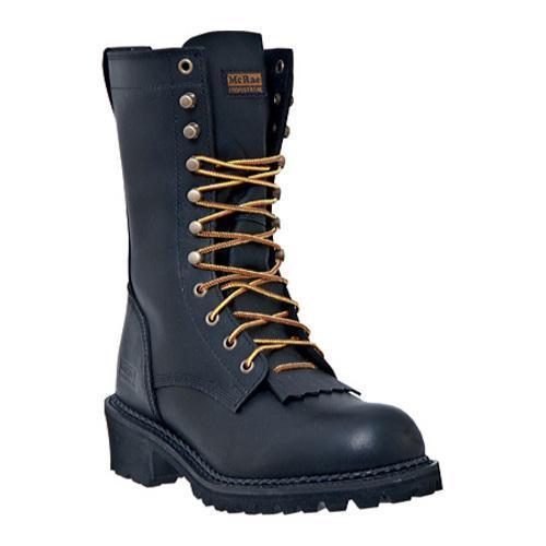 Men's McRae Industrial 10in Logger Lacer MR89010 Black Oiled Full Grain Leather