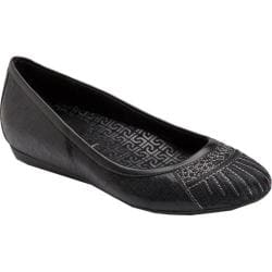 Women's Rockport Faye Embroidered Flat Black Full Grain Leather