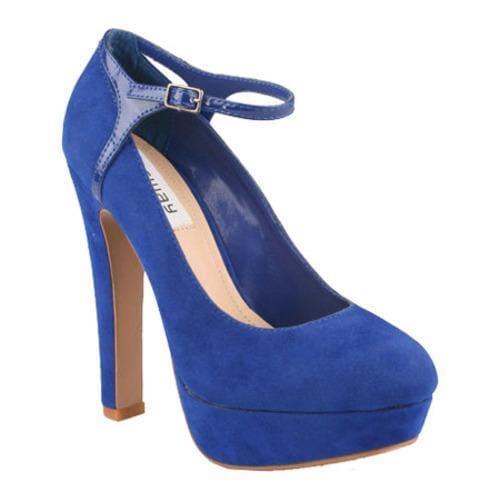 Women's Wild Diva Bebe-01 Blue Faux Suede