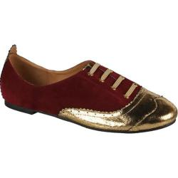 Women's Wild Diva Maya-05 Burgundy/Gold Faux Suede/Cracked PU