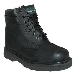 Men's American Rugged Wear Lightweight Steel Toe Leather Boot Black Leather