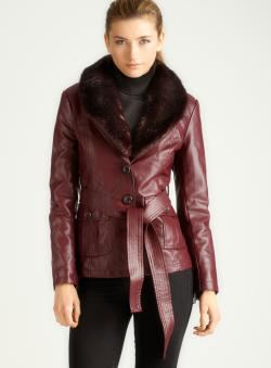 GIACCA Faux Fur Collared Jacket