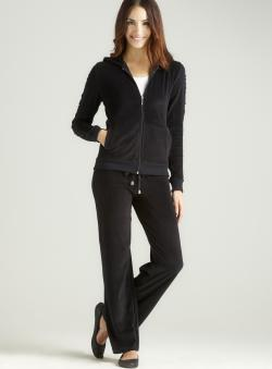 Central Park West Ruched Velour Set In Black