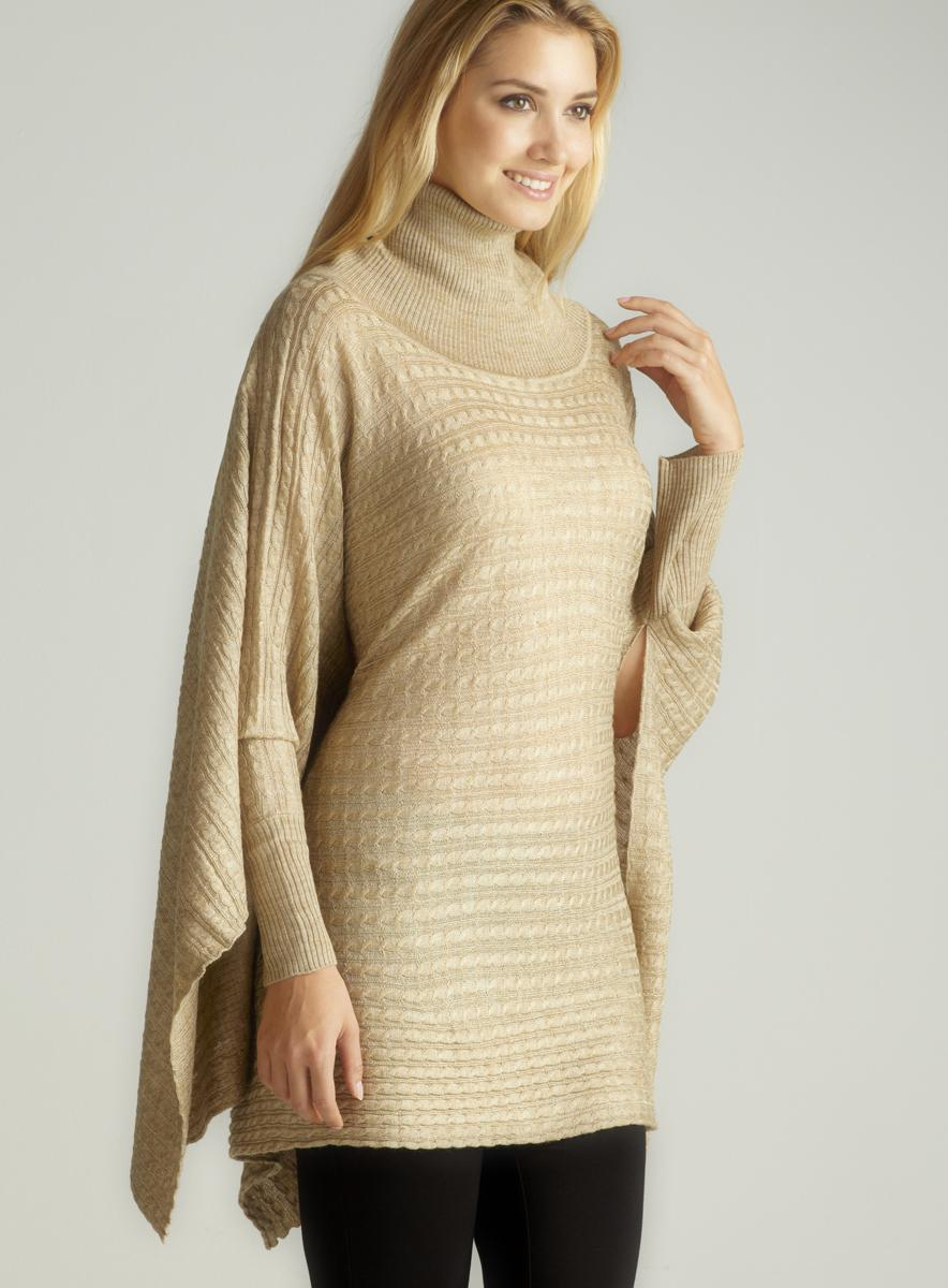Red Camel Cabled Poncho