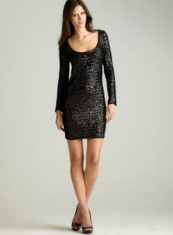 La Cite L/S Open Back Sequin Dress