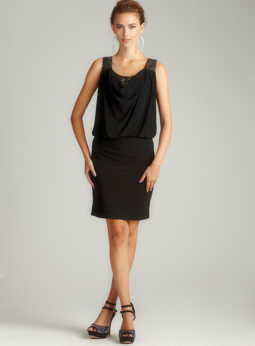 NIGHTWAY Blouson Sequin Shoulder Dress