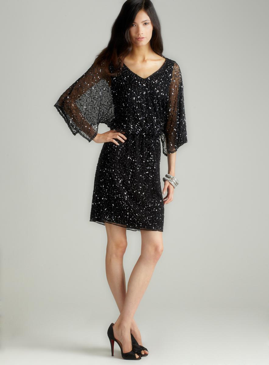 Pisarro Nights Kimono Sleeve Beaded Dress