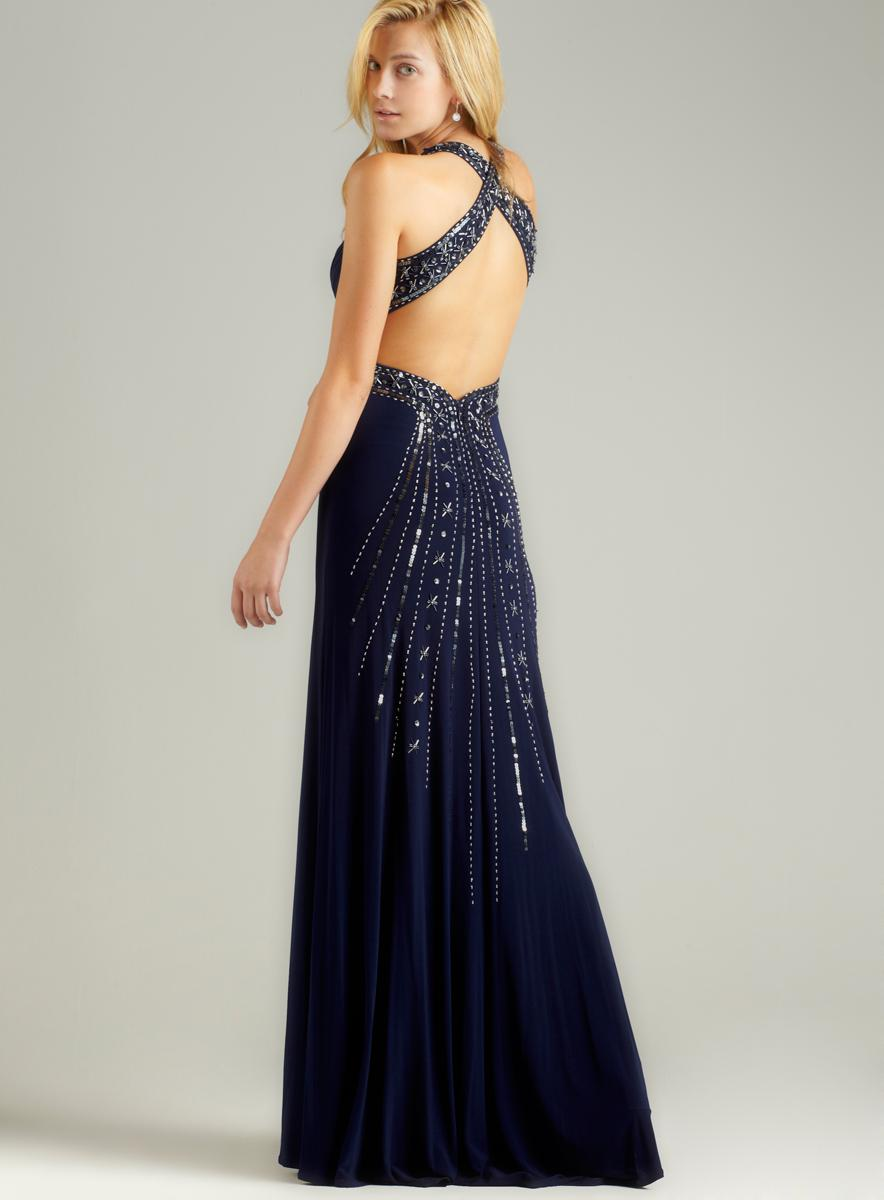 NIGHTWAY X-Back Beaded Spray Back Gown