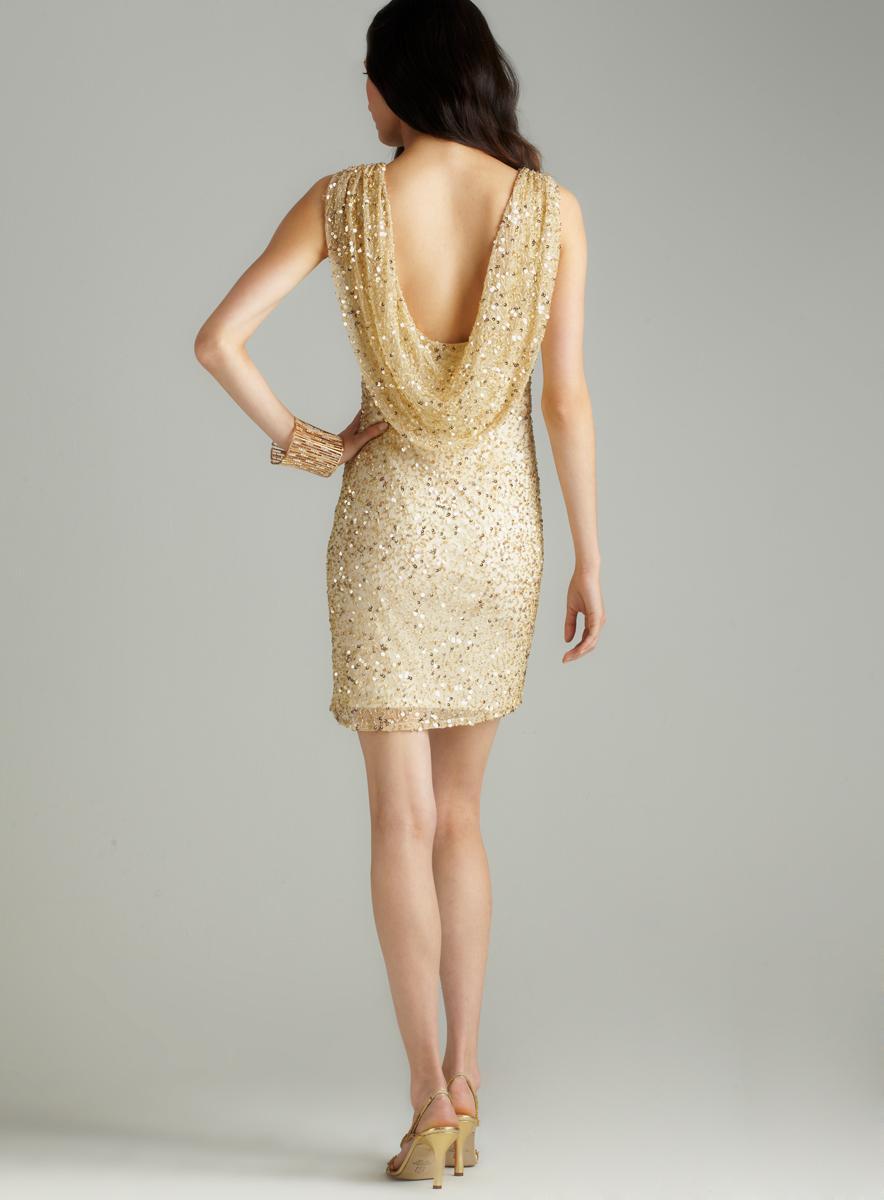Pisarro Nights Cowl Back Sequin Dress