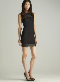 Jaye.e. Quilted Faux Leather Ponte Dress