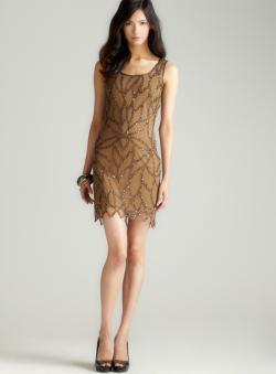 Pisarro Nights Gold Sequin Motif Tank Dress