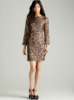 Pisarro Nights Long Sleeve Sequin Short Dress