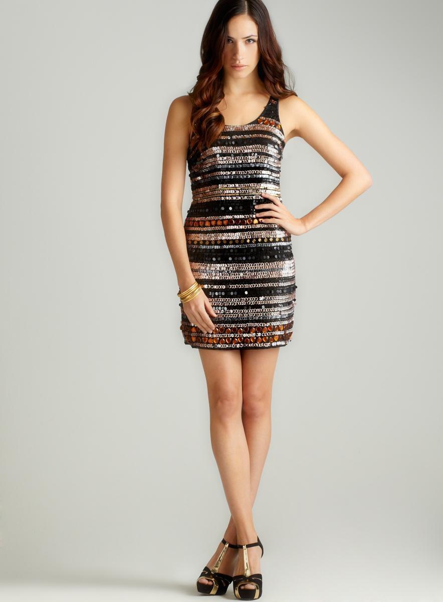 ROMEO&JULIET COUTURE Multi Sequin Stripe Tank Dress
