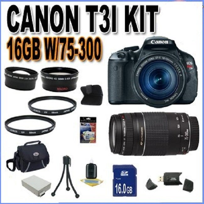 Canon EOS Rebel T3i 18MP Black Digital SLR Camera with 18-55MM & 75-300 Lens Kit