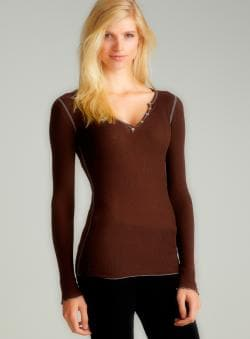 Fickle L/S Henley Thermal In Brown
