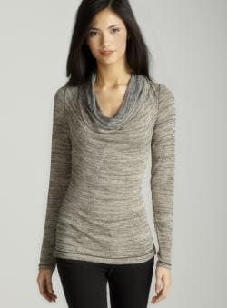 Max Studio Metallic cowlneck top