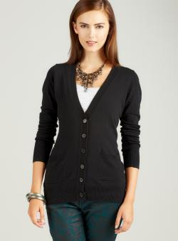 Pink Rose Long Sleeved Cardigan In Black