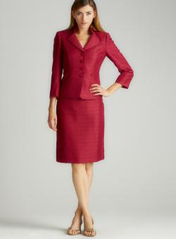 Tahari Mandarin Collar Skirt Suit