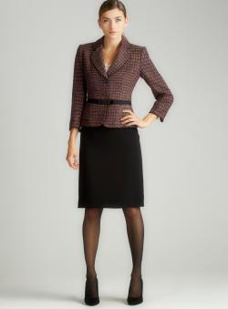 Tahari Novelty Crepe Skirt Suit