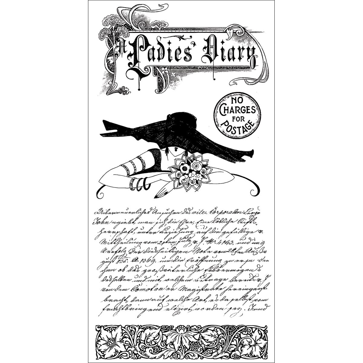 """Graphic 45 Ladies' Diary Acetate Cling Stamps 4""""X8""""-#1"""