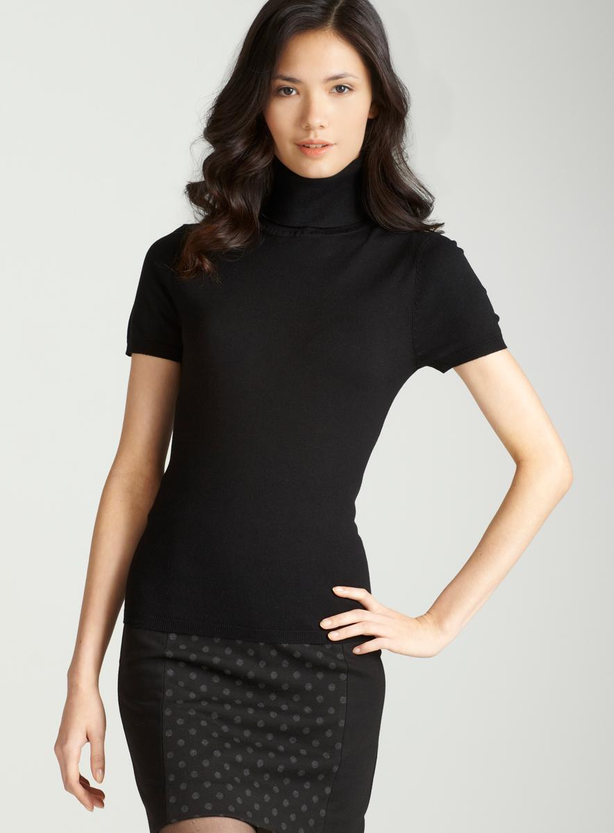 Grace Petite Cap Sleeve Turtleneck In Black