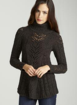 Joan Vass Black L/S Pointelle Turtleneck