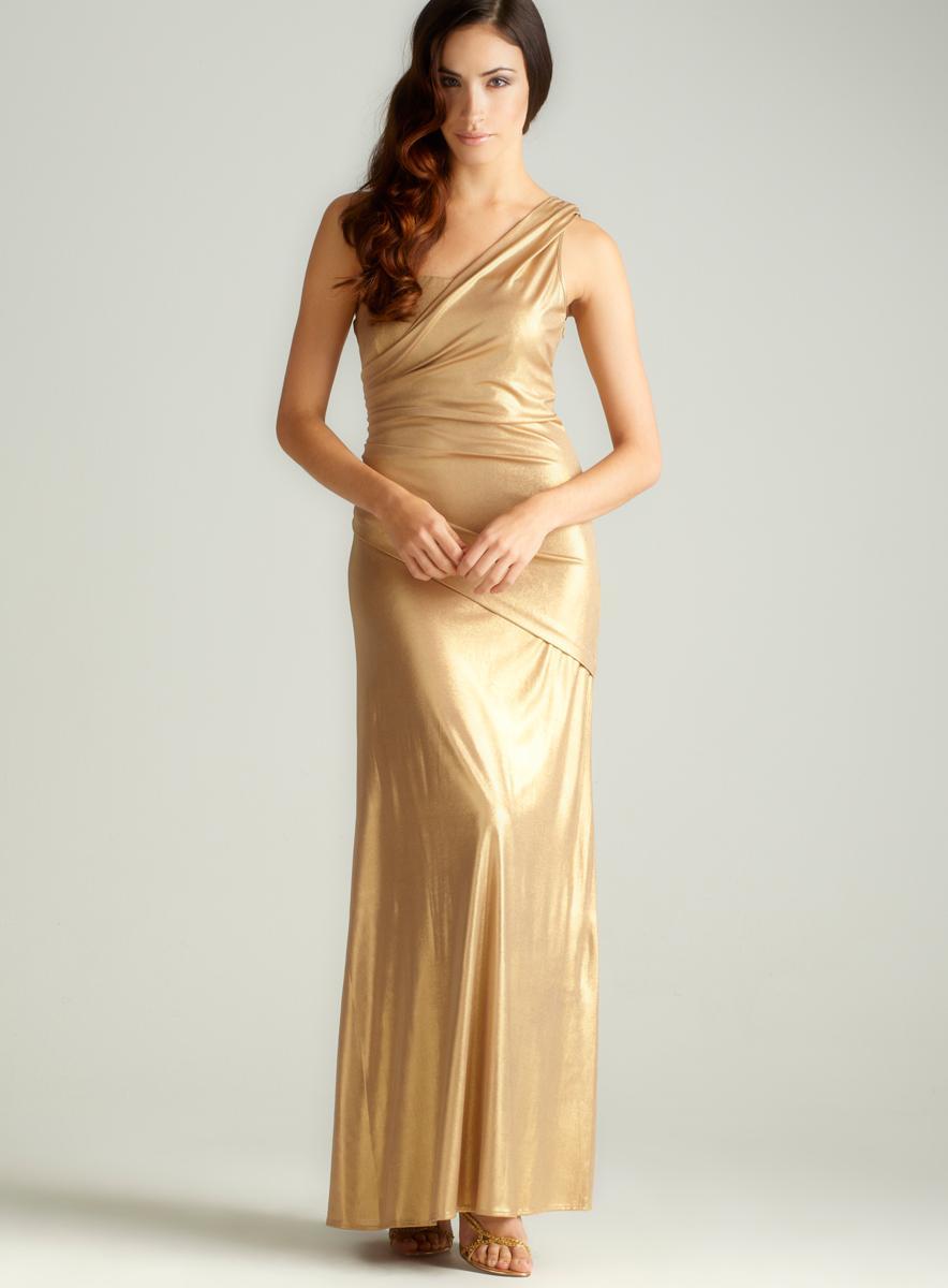 Nightway One Shoulder Metallic Gown