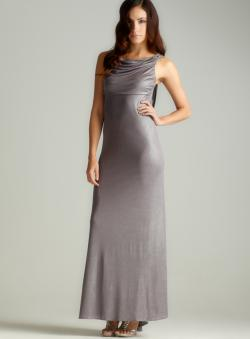 Nightway Tie Back Drape Metallic Gown