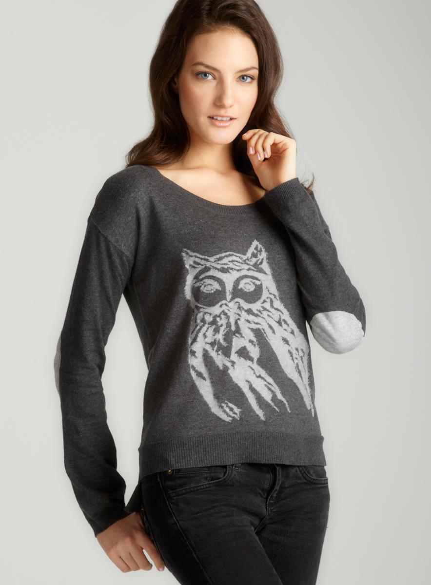Kensie Elbow Patch Owl Sweater