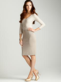 Carmen Marc Valvo 3/4 Sleeve Ribbed Stripe Dress