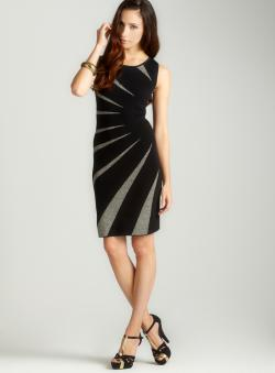 Carmen Marc Valvo Intarsia Boatneck Sheath Dress