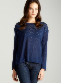 Soprano L/S Envlpbk Spray Stud Sweater