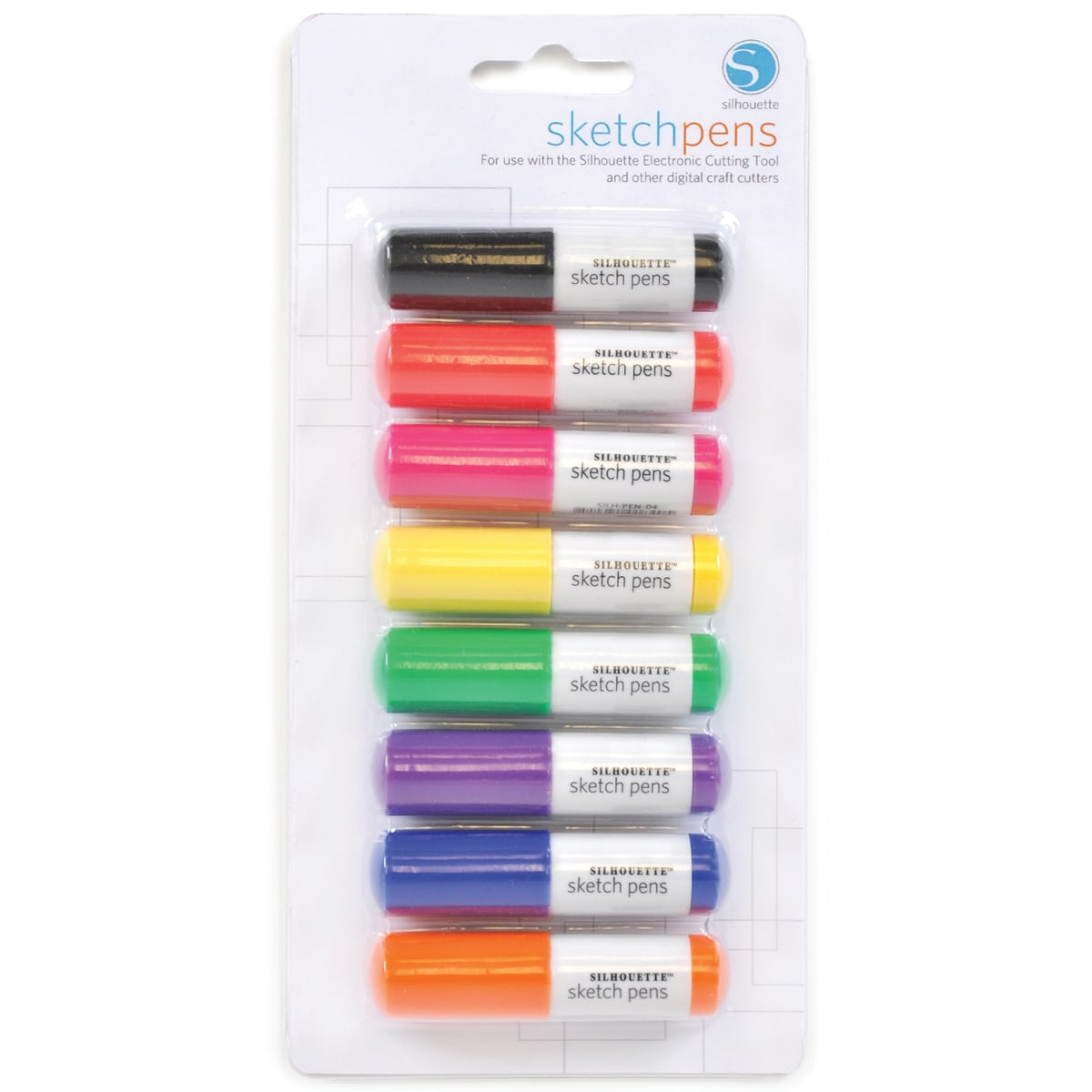 Silhouette Sketch Pen 8/Pkg-BLCK, RED, PINK, GRN, YLW, PUR, BLU, ORG