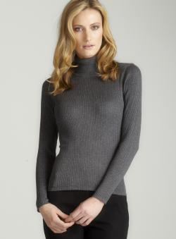 August Silk Grey Rib Turtleneck