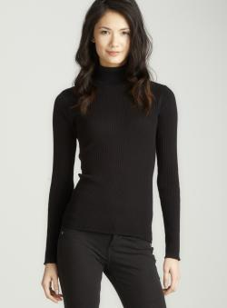 August Silk Rib Long Sleeve Turtleneck