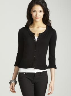 Tracy M Peplum Cardigan In Black